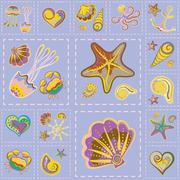 Vector Marine Seamless Pattern. Sea Patchwork Stock Illustration