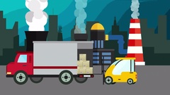 Cartoon animation of a forklift Loader load boxes into a truck over factory bg Stock Footage