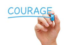 Courage Blue Marker Stock Photos
