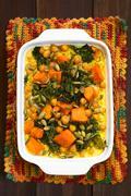 Pumpkin, Kale and Chickpea Casserole Stock Photos