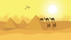 Cartoon animation of a camel train travels across a desert in the sunset Stock Footage