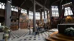 Wooden interior of the church Saint Catherine in the Honfleur, France, Normandy Stock Footage