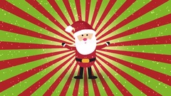 Nice animation of cute santa claus over vintage colorful sunburst & falling snow Stock Footage
