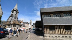 Exterior of the church Saint Catherine in the Honfleur, France, Normandy, EU, Eu Stock Footage