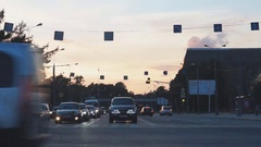 Cars stopped at the traffic lights in the city Stock Footage