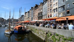 Old port of the Honfleur, France, EU, Europe. Stock Footage