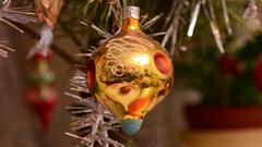 Christmas Ball and led light on Christmas Tree. New Year Decoration Stock Footage