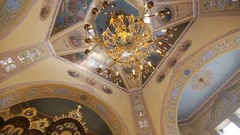 Church lighted lamp in the beautiful old orthodox Church Stock Footage