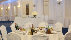 Beautiful wedding decoration of tables, made of little white roses Stock Footage
