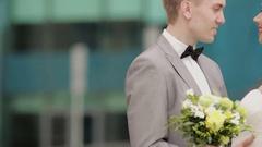 Bride kissing her groom Stock Footage