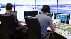 Air traffic controllers Stock Footage