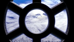 View of Earth through the window of the international space station Stock Footage