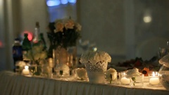 Incredible wedding decoration on the marriage ceremony hall Stock Footage
