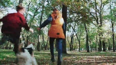 Two young women running hand in hand, and dog fox terrier. Jogging in the autumn Stock Footage
