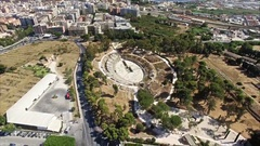 Greek Theatre near Modern CIty Stock Footage
