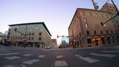 POV point of view - Driving through downtown Denver early in the morning. Stock Footage