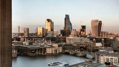 City of London skyline and the River Thames waterfront, UK; time lapse Stock Footage