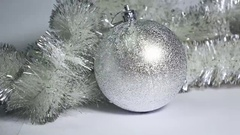 Silvery New Year's ball Stock Footage