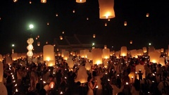 Big sky lanterns release at Loi Krathong celebration in Chiang Mai Stock Footage