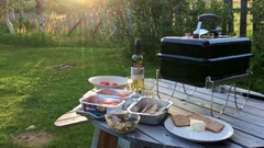 Barbecue in open air at camping, Norway Stock Footage