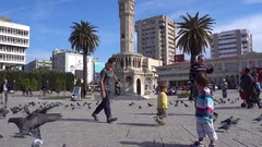 Children chase pigens on the square  Stock Footage