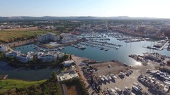 Shooting video bird's-eye view of Vilamoura marina Stock Footage