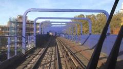 POV Front of London Docklands Light Railway Train 4K Stock Footage
