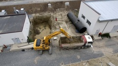 Excavator and truck Wastewater treatment plant Stock Footage