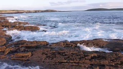 Waves Splashing Rocks at Clifden Bay Stock Footage