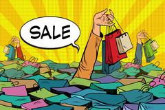 Sales, people drowning in the ocean of shopping Piirros