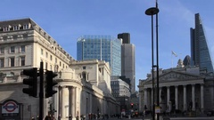 Bank of England and London City Financial District Stock Footage