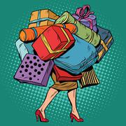 Woman and a lot of holiday shopping, sales discounts Stock Illustration