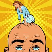 The thoughts of men about a woman Stock Illustration