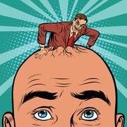 Retro businessman hatches from the head men Stock Illustration