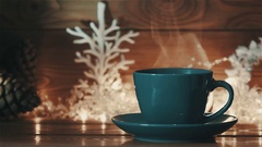 Blue cup of Hot Coffee or Tea Stock Footage