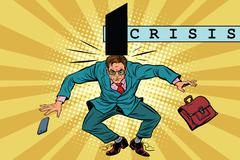 Economic policy and crisis, impact on business, pop art retro ve Stock Illustration