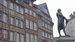RENNES, FRANCE - JANUARY 2015 Architectural style and facades in city center Stock Footage