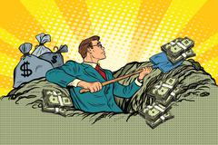 Retro businessman digs up money from the ground Stock Illustration