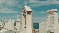 A cemetery in Saint-Tropez with tombstones Stock Footage