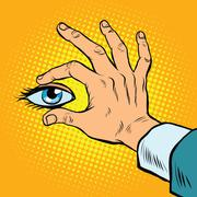 Retro hand holding eyes Stock Illustration