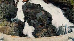 Beautiful waterfall among rocks cliff. Norway, Finnmark. Summer 2016. HD 1080 Stock Footage