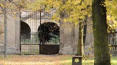 Old historical gateway in the autumn park. Stock Footage