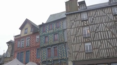 RENNES, FRANCE - Building facades and detailed facades in city Stock Footage
