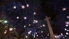 Christmas Lights Display, Sloane Square, London . Stock Footage