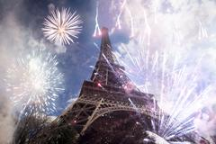 Abstract background of Eiffel tower with fireworks Stock Photos