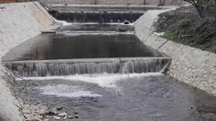 Man Made Water Cascades Stream Stock Footage