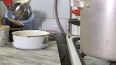 Sickening conditions in the kitchen dirty plates and pans Stock Footage