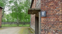 4K Building #8, Auschwitz Brick Building, Concentration Camp Close Up Stock Footage