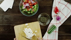 Cooking salad with the white cheese Stock Footage