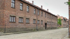 4K Vacant Prison Yard, Auschwitz Concentration Camp, Holocaust Memorial Stock Footage